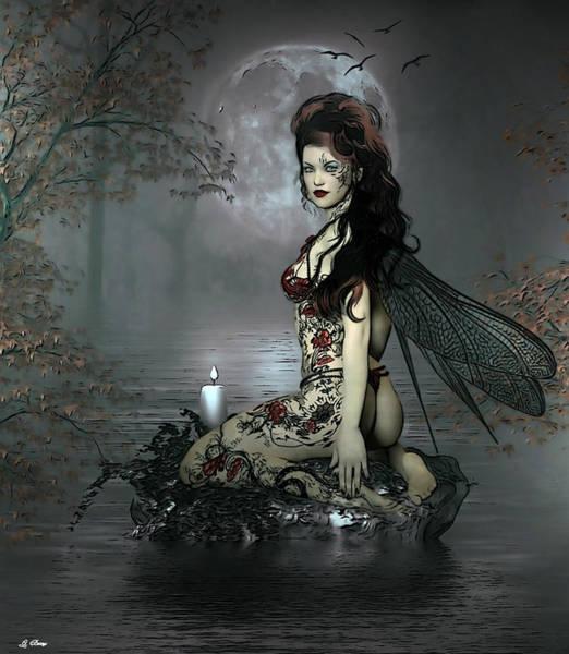 Full Moon Mixed Media - Romantic Fairy by G Berry