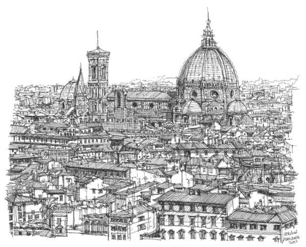Ink Pen Drawing - Romantic Florence Skyline In Ink by Building  Art