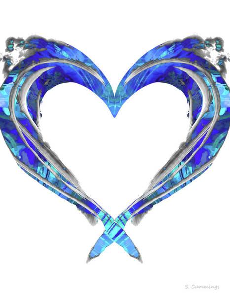 Painting - Romantic Heart Art - Big Blue Love - Sharon Cummings by Sharon Cummings