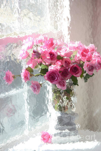 Impressionistic Photograph - Romantic Impressionistic Pink Roses - French Roses In Vase Shabby Chic Cottage Pink Floral Art by Kathy Fornal