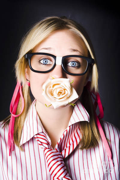 Adolescence Photograph - Romantic Nerd Flower Girl With Expression Of Love by Jorgo Photography - Wall Art Gallery