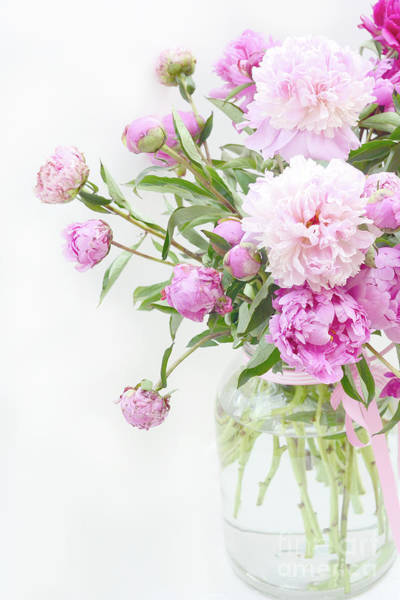 Peonies Photograph - Romantic Pastel Summer Garden Pink Peonies In Jar - Romantic Shabby Pink Peonies Summer Garden Decor by Kathy Fornal