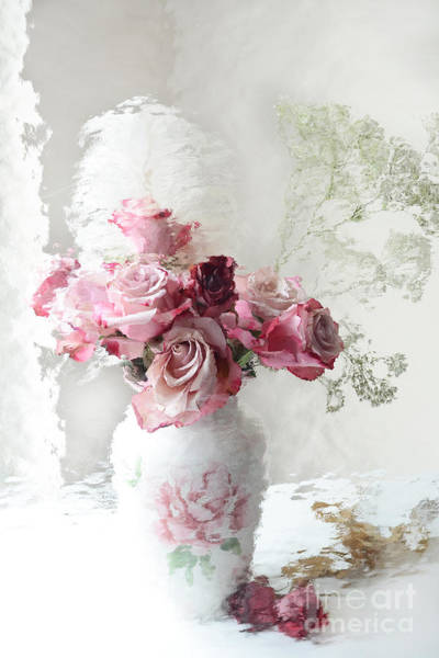Impressionistic Photograph - Romantic Pink Red Roses Impressionistic Floral - Shabby Chic Romantic Pink And Red Roses by Kathy Fornal