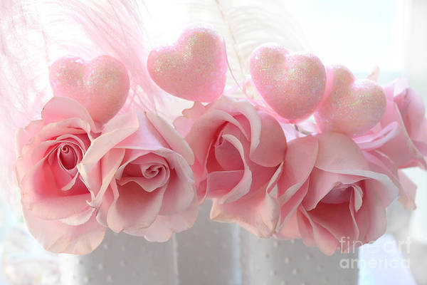 Wall Art - Photograph - Romantic Pink Shabby Chic Valentine Hearts And Roses - Valentine Roses Pink And White Hearts Decor by Kathy Fornal