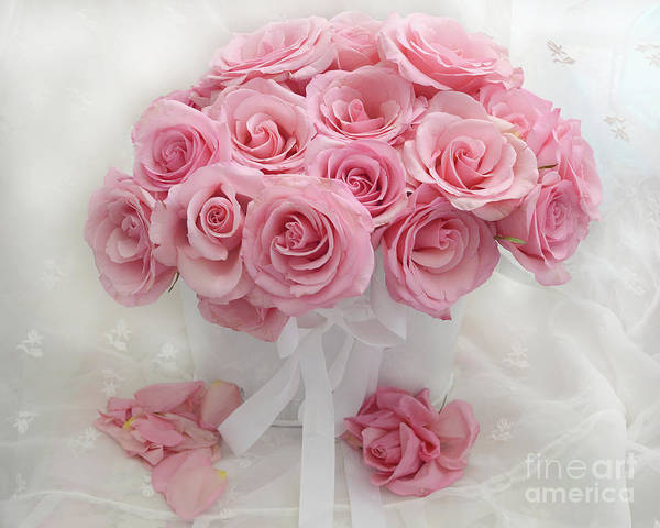 Wall Art - Photograph - Romantic Pink White Roses Bouquet Shabby Chic Flowers Roses  by Kathy Fornal
