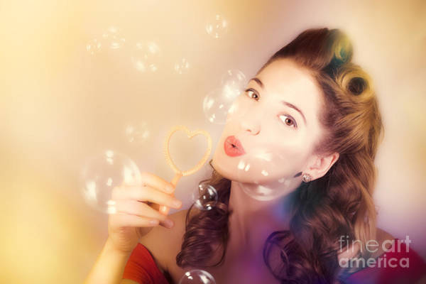 Pinup Photograph - Romantic Pinup Girl. Retro Summer Party by Jorgo Photography - Wall Art Gallery