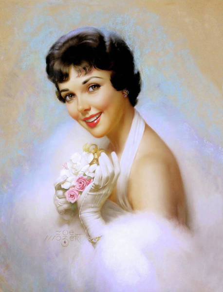 Long Dress Painting - Romantic Portrait Of A Young Lady Bride Holding A Bouquet by Long Shot