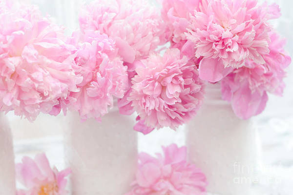 Wall Art - Photograph - Shabby Chic Pastel Pink Peonies - Pink Peonies In White Mason Jars by Kathy Fornal