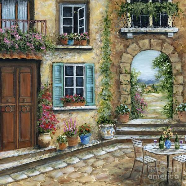 Porch Painting - Romantic Tuscan Courtyard II by Marilyn Dunlap