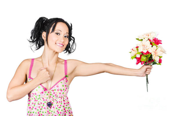 Wall Art - Photograph - Romantic Woman Giving Flower Bouquet. Thank You by Jorgo Photography - Wall Art Gallery