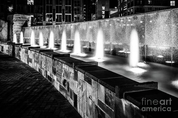 Wall Art - Photograph - Romare Bearden Park Fountain Black And White Photo by Paul Velgos