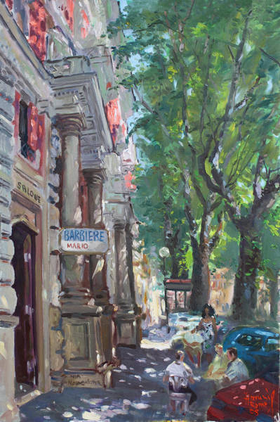 Rome Painting - Rome A Small Talk By Barbiere Mario by Ylli Haruni