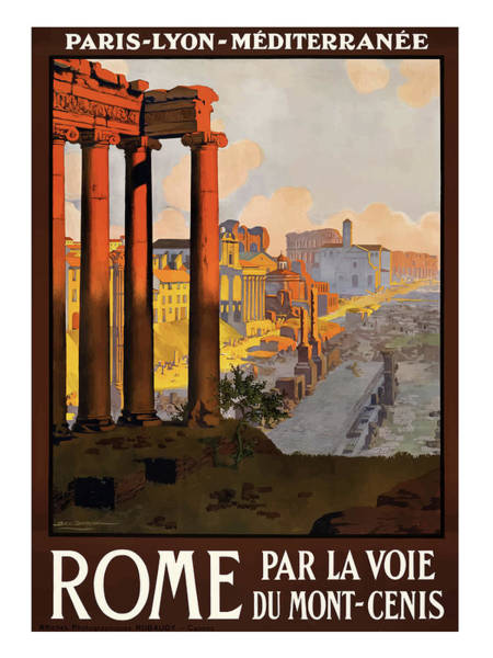Railway Painting - Rome, Ancient Ruins, Railway by Long Shot