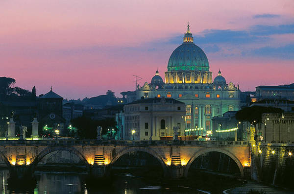 St Peters Basilica Photograph - Rome At Night With A View Of Saint Peters Basilica by Italian School