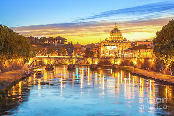 Photograph - Rome At Twilight by Benny Marty