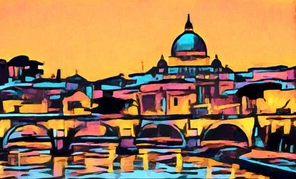 Wall Art - Painting - Rome Colorful Skyline by Dan Sproul