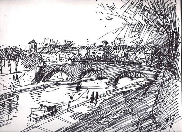 Building Drawing - Bridge At Isola Tiberina Rome Sketch by Ylli Haruni