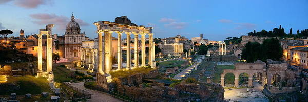 Photograph - Rome Forum Night Panorama by Songquan Deng