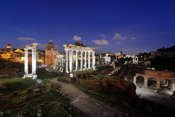 Photograph - Rome Forum Night by Songquan Deng