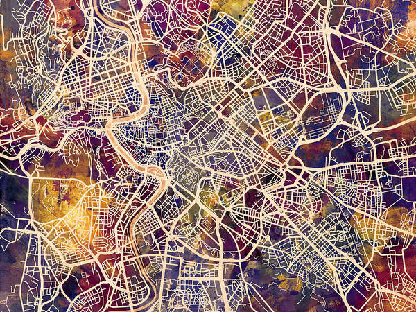Wall Art - Digital Art - Rome Italy City Street Map by Michael Tompsett