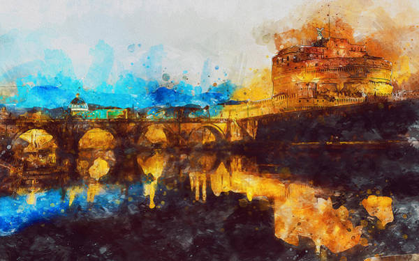 Painting - Rome, Mausoleum Of Hadrian - 01 by Andrea Mazzocchetti