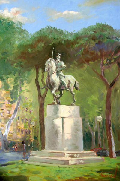 Statue Wall Art - Painting - Rome Piazza Albania by Ylli Haruni