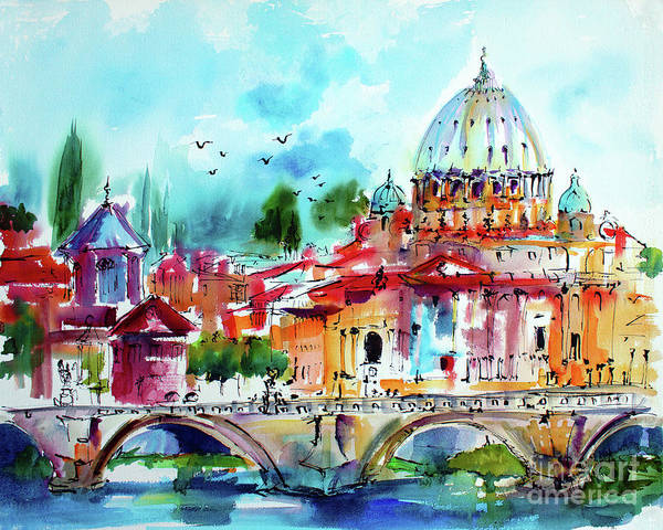 Painting - Rome Saint Peter Basilica St Angelo Bridge by Ginette Callaway