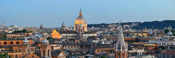 Photograph - Rome Skyline Night View by Songquan Deng
