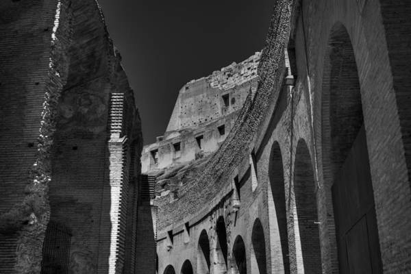 Photograph - Rome - The Colosseum 001 Bw by Lance Vaughn