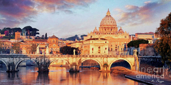 Rome The Eternal City - Saint Peter From The Tiber Art Print
