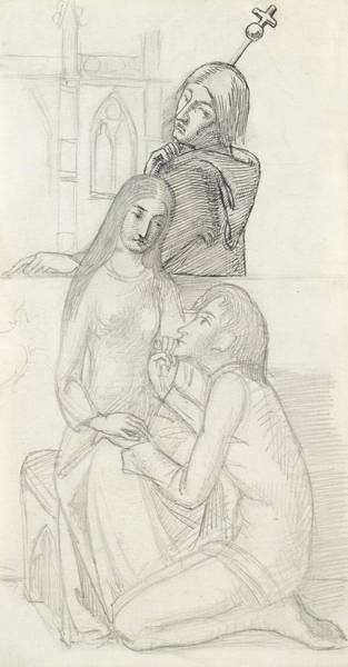 Drawing - Romeo And Juliet, With Friar Lawrence by Simeon Solomon