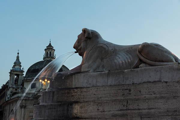 Photograph - Rome's Fabulous Fountains - Piazza Del Popolo Lion by Georgia Mizuleva