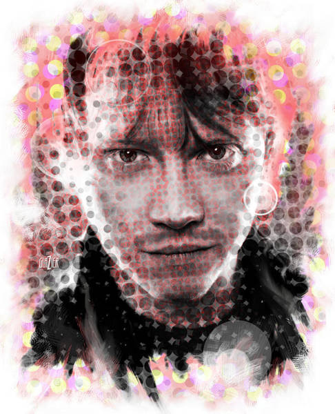 Wall Art - Digital Art - Ron Weasley Halftone Portrait by Garth Glazier
