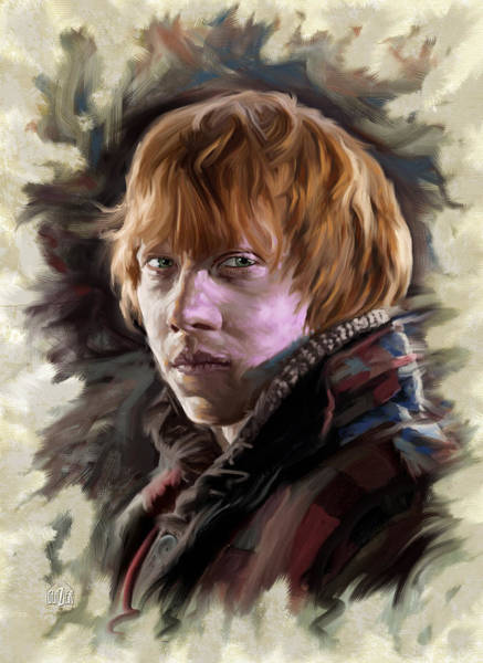 Wall Art - Digital Art - Ron Weasley, Harry Potter Portrait by Garth Glazier
