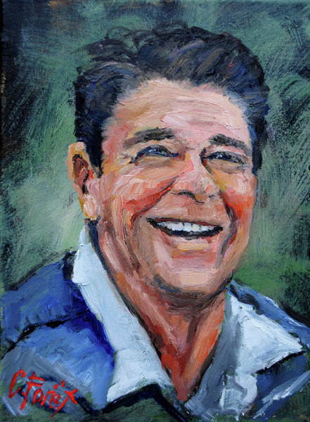 Wall Art - Painting - Ronald Reagan by Carole Foret