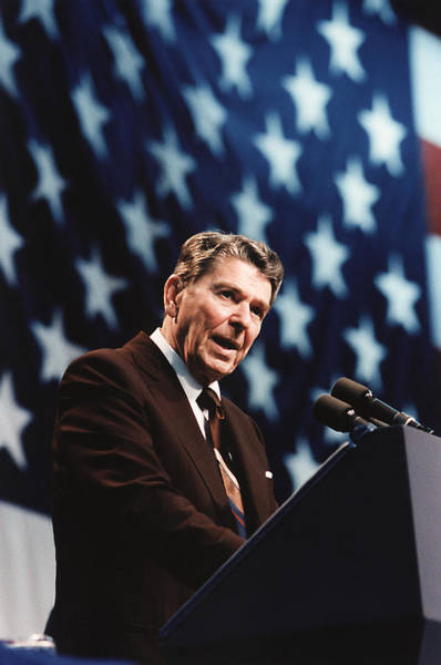 Wall Art - Photograph - Ronald Reagan Speaking At Congressional Rally - 1986 by War Is Hell Store