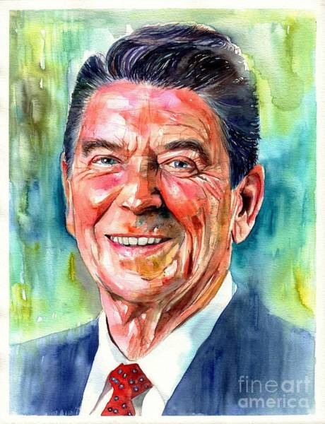 Fair Painting - Ronald Reagan Watercolor by Suzann Sines