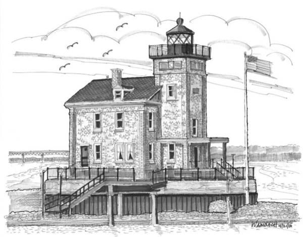 Drawing - Rondout Lighthouse by Richard Wambach