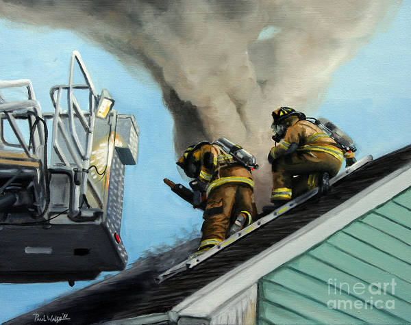Fireman Wall Art - Painting - Roof Is Open by Paul Walsh