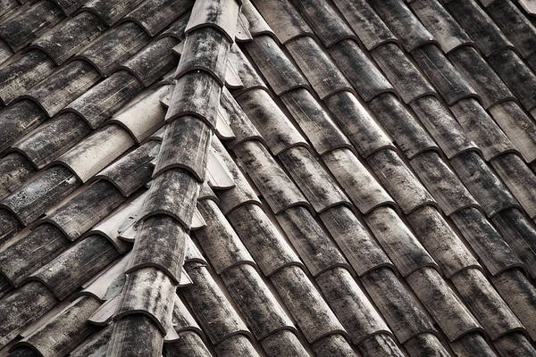 Photograph - Roof Tile Abstract - Black And White by Stuart Litoff