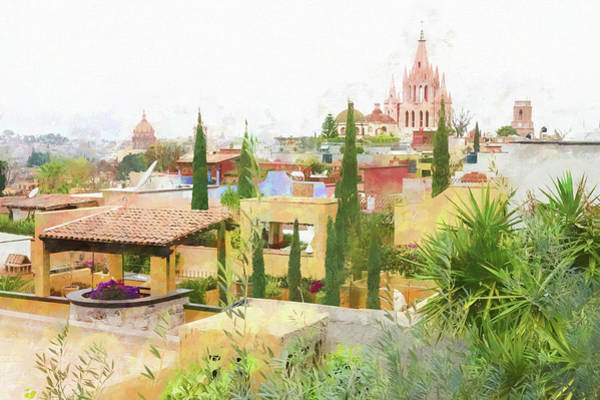 Photograph - Rooftops And The Parroquia De San Miguel Arcangel, Mexico. by Rob Huntley