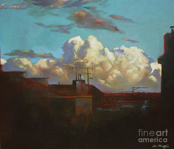 Norsk Painting - Rooftops by Lin Petershagen