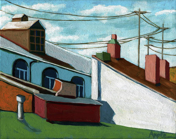 Wall Art - Painting - Rooftops by Linda Apple