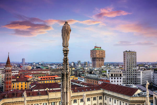 Church Spire Wall Art - Photograph - Rooftops Of Milan From The Duomo  by Carol Japp