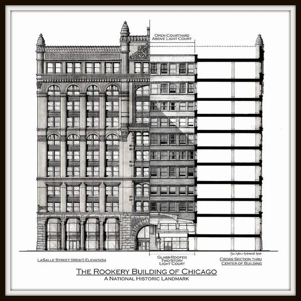 The Rookery Wall Art - Drawing - Rookery Building Of Chicago by Gene Nelson