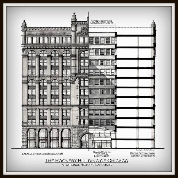 The Rookery Wall Art - Drawing - Rookery Building - Vignette - Museum Matte by Gene Nelson