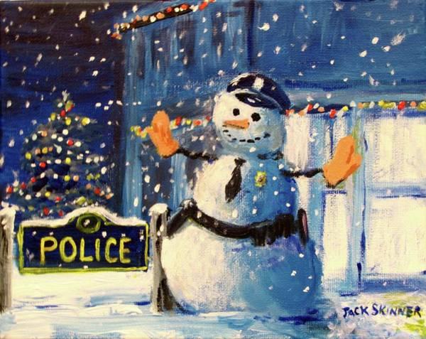 Wall Art - Painting - Rookie Working Christmas Eve by Jack Skinner