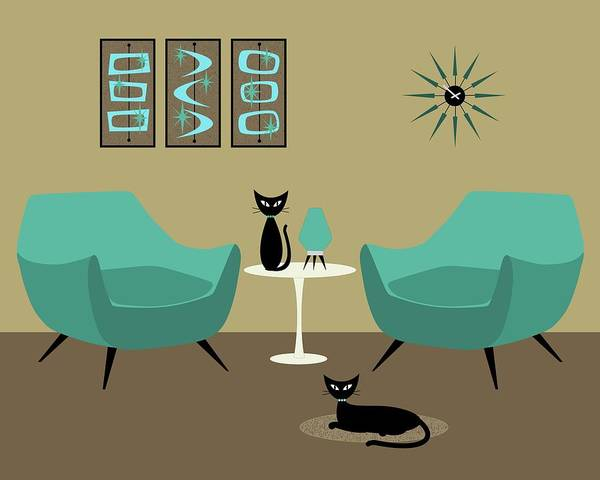 Digital Art - Room With Dark Aqua Chairs by Donna Mibus
