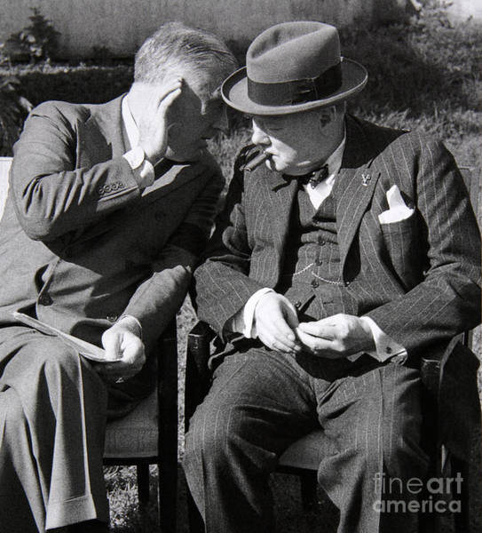Cigar Photograph - Roosevelt And Churchill Deep In Conversation At The Casablanca Conference, Morocco, January 1943 by English School