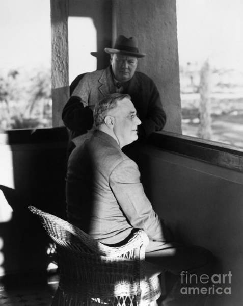 Wall Art - Photograph - Roosevelt And Churchill by Granger